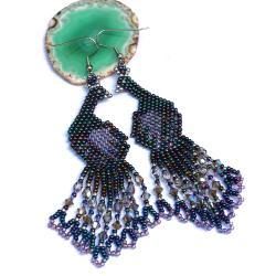 błyszczące wieczorowe klczyki,kolczyki pawie - Kolczyki - Biżuteria