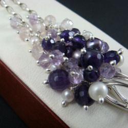 grona,ametystowe,długie - Kolczyki - Biżuteria