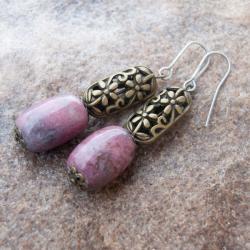 kolczyki z rodonitami,prezent - Kolczyki - Biżuteria