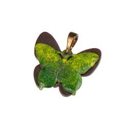 wisiorek z zielonym motylem,miedziany,greenary - Wisiory - Biżuteria