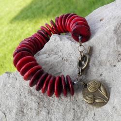 bransoletka czerwona,z plastrów,na prezent,artseko - Bransoletki - Biżuteria