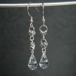 srebrne kolczyki,szklane krople, - Kolczyki - Biżuteria