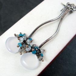 delikatne,błękitne - Kolczyki - Biżuteria