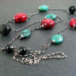 długi,barwny,klasyczny - Naszyjniki - Biżuteria