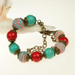 kolorowa bransoletka,boho,z howlitami - Bransoletki - Biżuteria