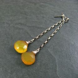chalcedon,żółte,lśniące - Kolczyki - Biżuteria