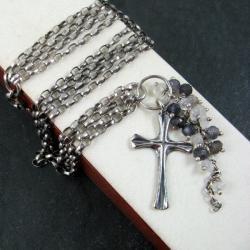 srebrna,z krzyżykiem - Bransoletki - Biżuteria