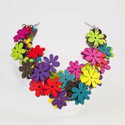 naszyjnik,letni,kwiaty,kolorowy,drewno - Naszyjniki - Biżuteria