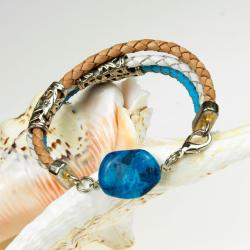 bransoletkaz rzemieni,z agatem,modowa,boho - Bransoletki - Biżuteria