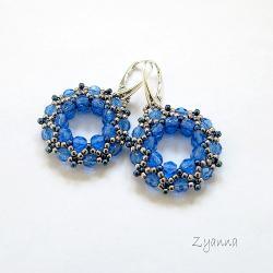 kolczyki,kółka,błyszczące,niebieskie - Kolczyki - Biżuteria