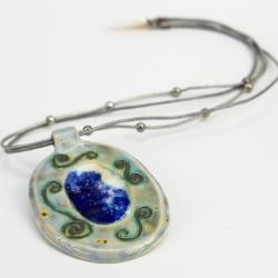 biżuteria,wisior,handmade,ceramika,szkło - Wisiory - Biżuteria