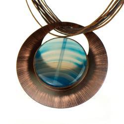 miedziany naszyjnik,z agatem,niebieski,prezent - Wisiory - Biżuteria