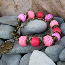 różowa bransoletka z howlitów, - Bransoletki - Biżuteria