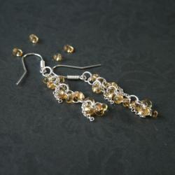 kolczyki miodowe,kolczyki wiszące - Kolczyki - Biżuteria