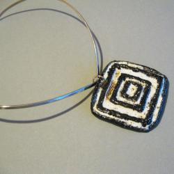 biżuteria,naszyjnik,handmade,ceramika,stal - Naszyjniki - Biżuteria