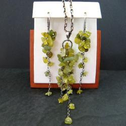 oliwkowy,długi - Komplety - Biżuteria