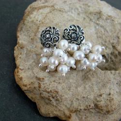 perłowe,grona,bali - Kolczyki - Biżuteria