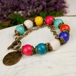 bransoletka z kolorowych kamieni,modowa - Bransoletki - Biżuteria