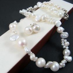 elegancki,perłowy komplet,awangardowy - Komplety - Biżuteria