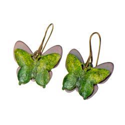 kolczyki z zielonymi motylami,miedziane kolczyki - Kolczyki - Biżuteria