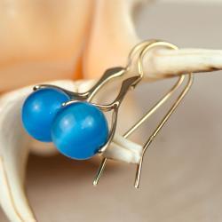kolczyki,srebrne,niebieskie,pozłacane - Kolczyki - Biżuteria