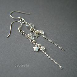 kolczyki srebrne,kolczyki wiszące,z gwiazdką - Kolczyki - Biżuteria