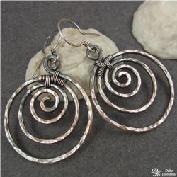 kolczyki,miedź,spiralki,koła,oksydowane,miedziane - Kolczyki - Biżuteria