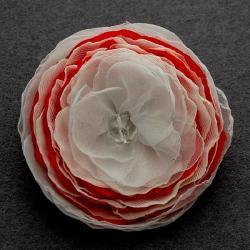 broszka,kwiatek,czerwień,biel - Broszki - Biżuteria