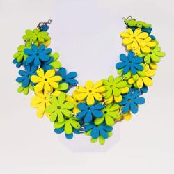 naszyjnik,drewno,kwiaty,eko,kolorowy - Naszyjniki - Biżuteria