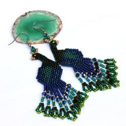 kolczyki pawie - Kolczyki - Biżuteria