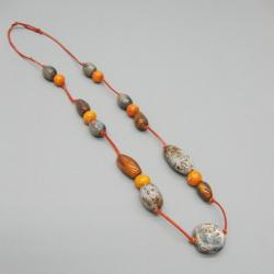naszyjnik,biżuteria,prezent,ceramika,rzemień - Naszyjniki - Biżuteria