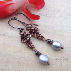 miedź,perły,chainmaille,oksydowane,długie - Kolczyki - Biżuteria