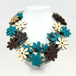 naszyjnitk,etno,eko drewniany,kwiaty,kolorowy - Naszyjniki - Biżuteria