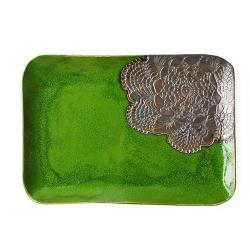 zielony,patera,prezent,ceramika,glina,szkliwo - Ceramika i szkło - Wyposażenie wnętrz
