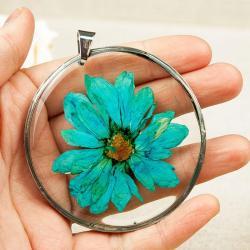 naszyjnik z prawdziwych kwiatów,żywica, - Naszyjniki - Biżuteria