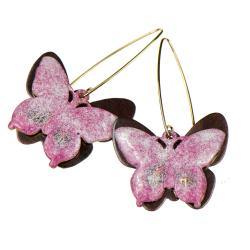 kolczyki z motylami,kolczyki z różowymi motylami, - Kolczyki - Biżuteria