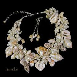 naszyjnik i kolczyki z muszlami kremowy ecru - Komplety - Biżuteria
