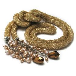 naszyjnik,lariat,szydełkowy wąż,crochet rope - Naszyjniki - Biżuteria