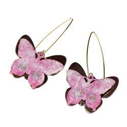 kolczyki,motyle,rózowe,prezent - Kolczyki - Biżuteria