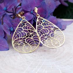 ażurowe kolczyki,kolczyki kolor złoty,imprezowe - Kolczyki - Biżuteria