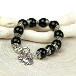 bransoletka czarna,z onyksu,czarne kamienie - Bransoletki - Biżuteria