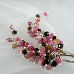 długie,różowe grona - Kolczyki - Biżuteria